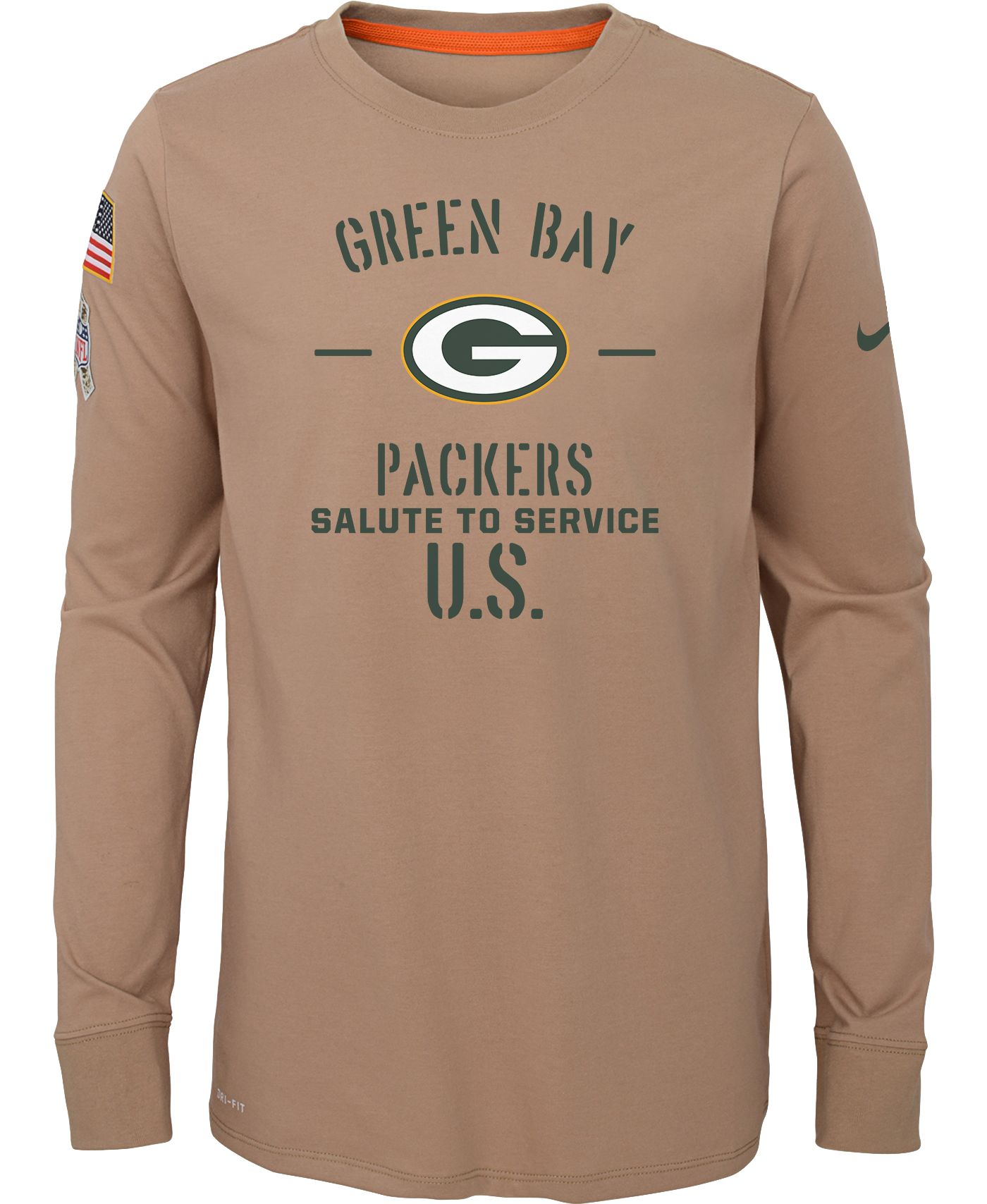 Nike Youth Salute to Service Green Bay Packers Dri-FIT Beige Long Sleeve Shirt