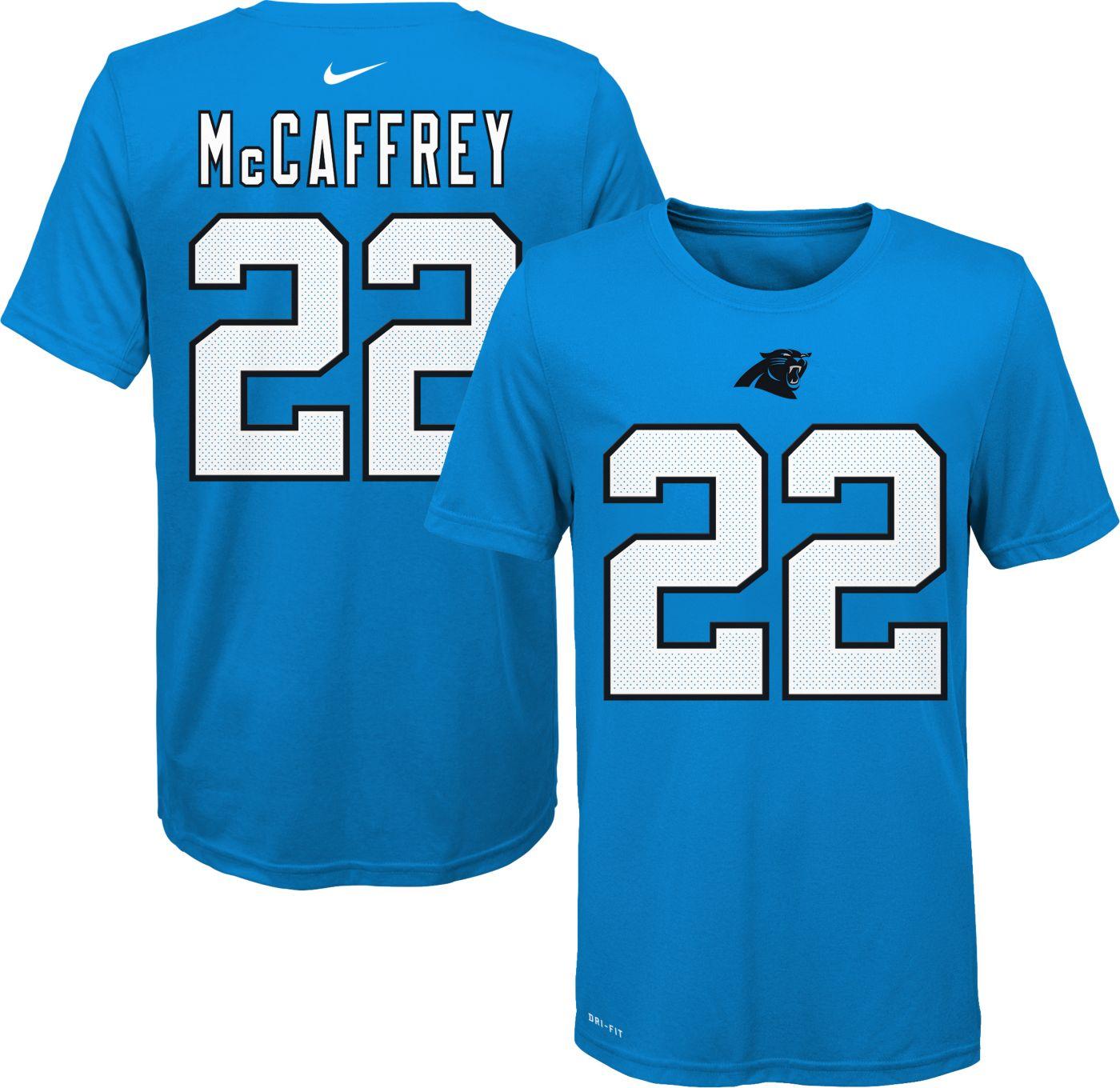 Nike Youth Carolina Panthers Christian McCaffrey #22 Logo Black T-Shirt