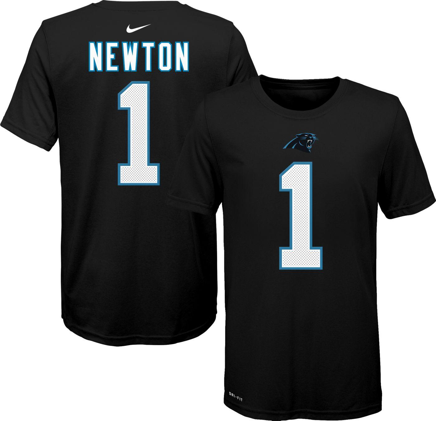 Nike Youth Carolina Panthers Cam Newton #1 Logo Black T-Shirt