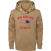 Nike Youth Salute to Service New England Patriots Therma-FIT Beige Camo Hoodie
