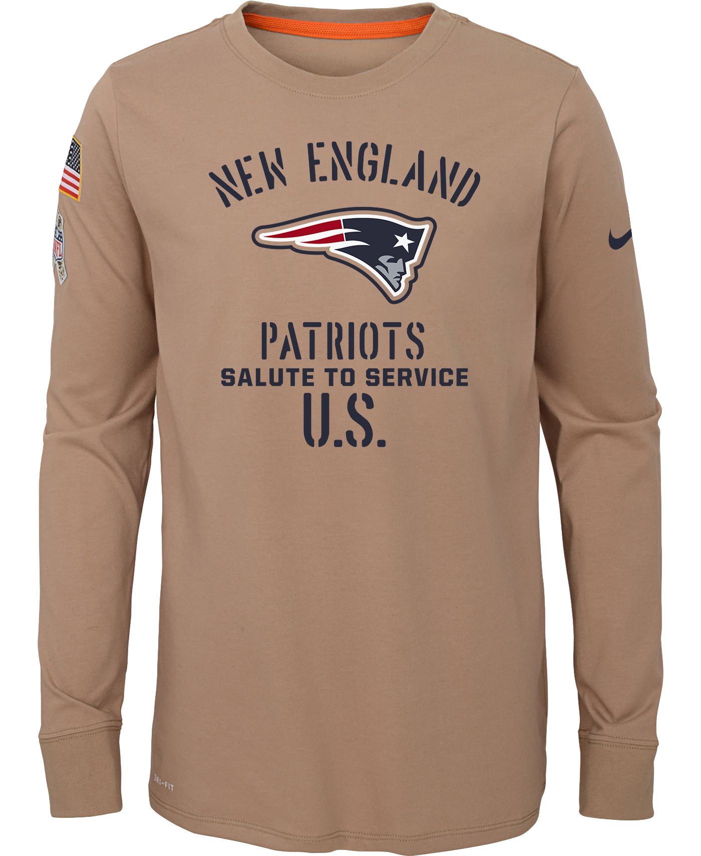Nike Youth Salute to Service New England Patriots Dri-FIT Beige Long Sleeve Shirt