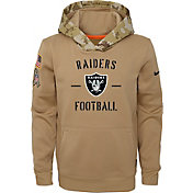 Nike Youth Salute to Service Oakland Raiders Therma-FIT Beige Hoodie