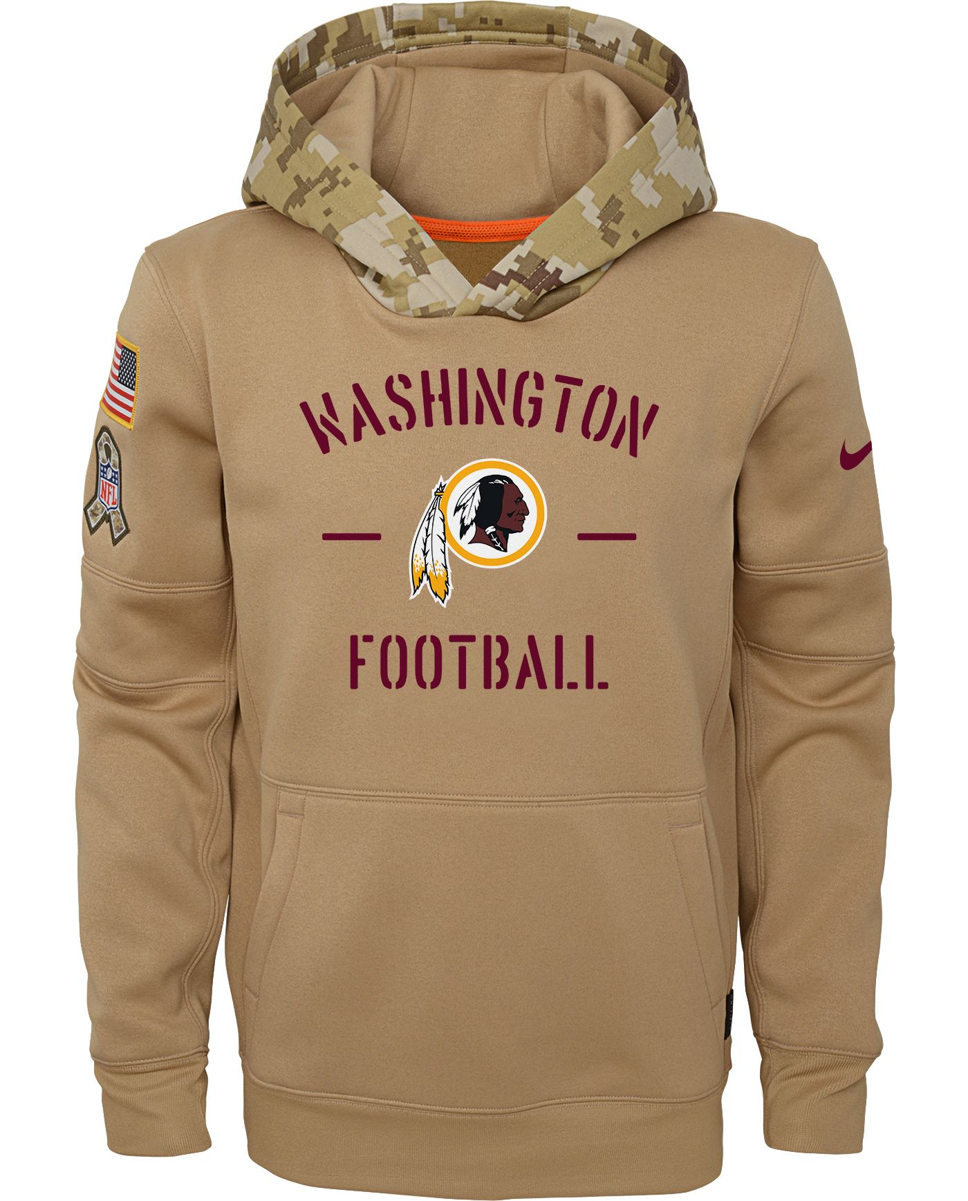 Nike Youth Salute to Service Washington Redskins Therma-FIT Beige Camo Hoodie