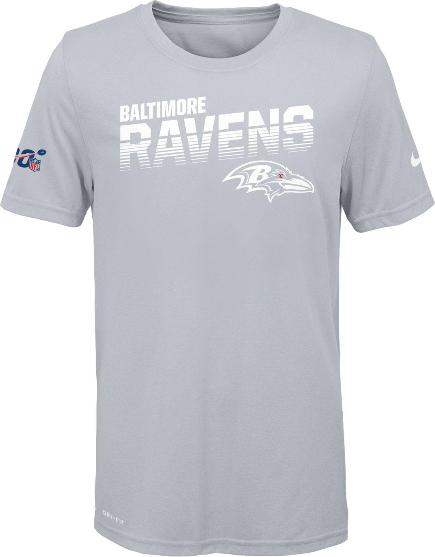 e165c73a Nike Youth Baltimore Ravens 100th Sideline Legend Performance White T-Shirt