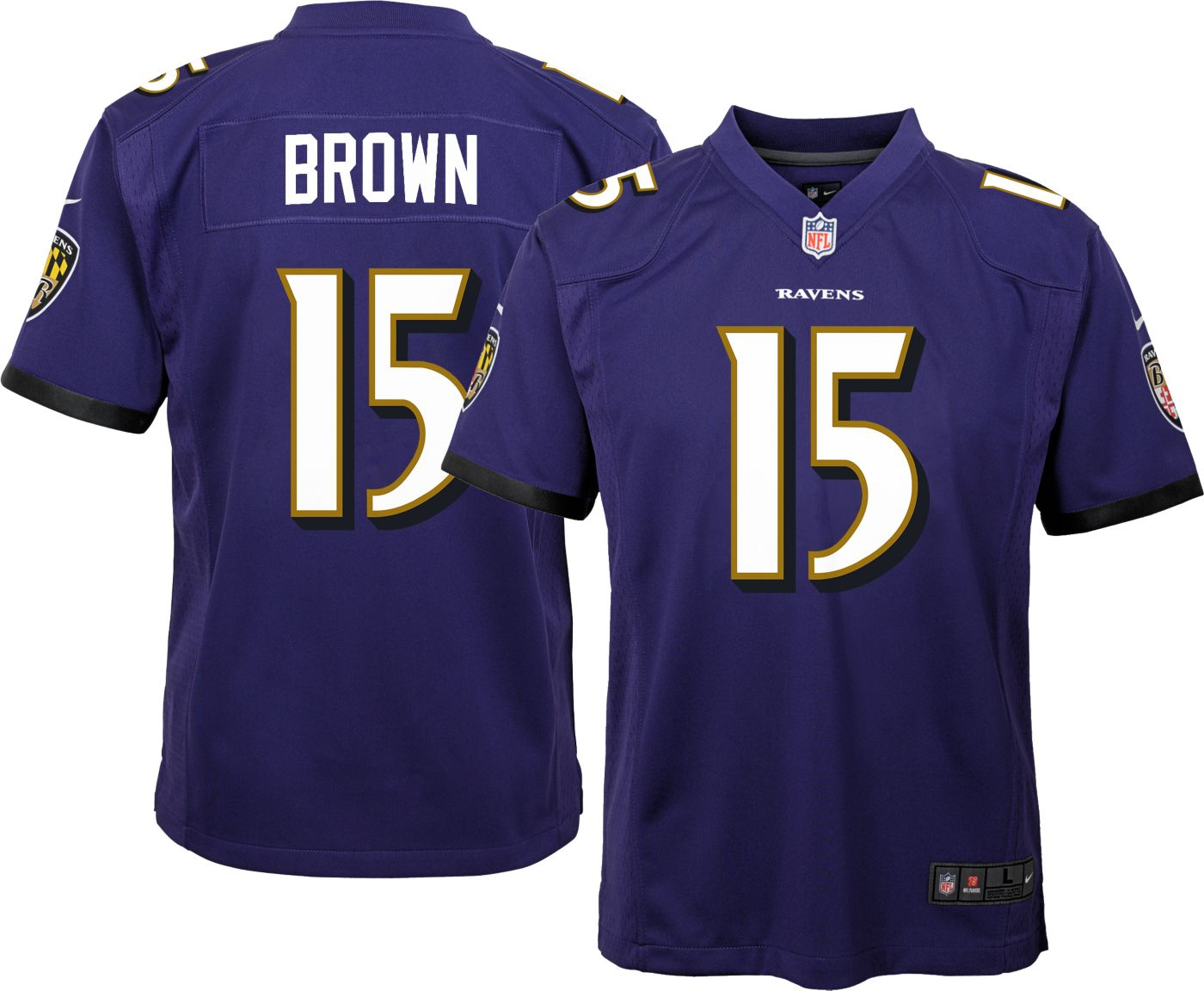 Nike Youth Home Game Jersey Baltimore Ravens Marquise Brown #15