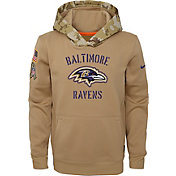 Nike Youth Salute to Service Baltimore Ravens Therma-FIT Beige Hoodie