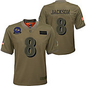 Nike Youth Salute to Service Baltimore Ravens Lamar Jackson #8 Olive Game Jersey