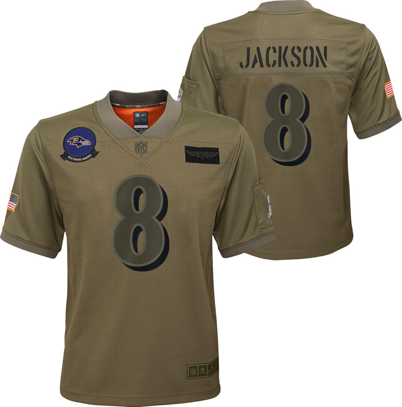 Nike Youth Salute to Service Baltimore Ravens Lamar Jackson #8 Olive Game Jersey