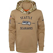 Nike Youth Salute to Service Seattle Seahawks Therma-FIT Beige Camo Hoodie