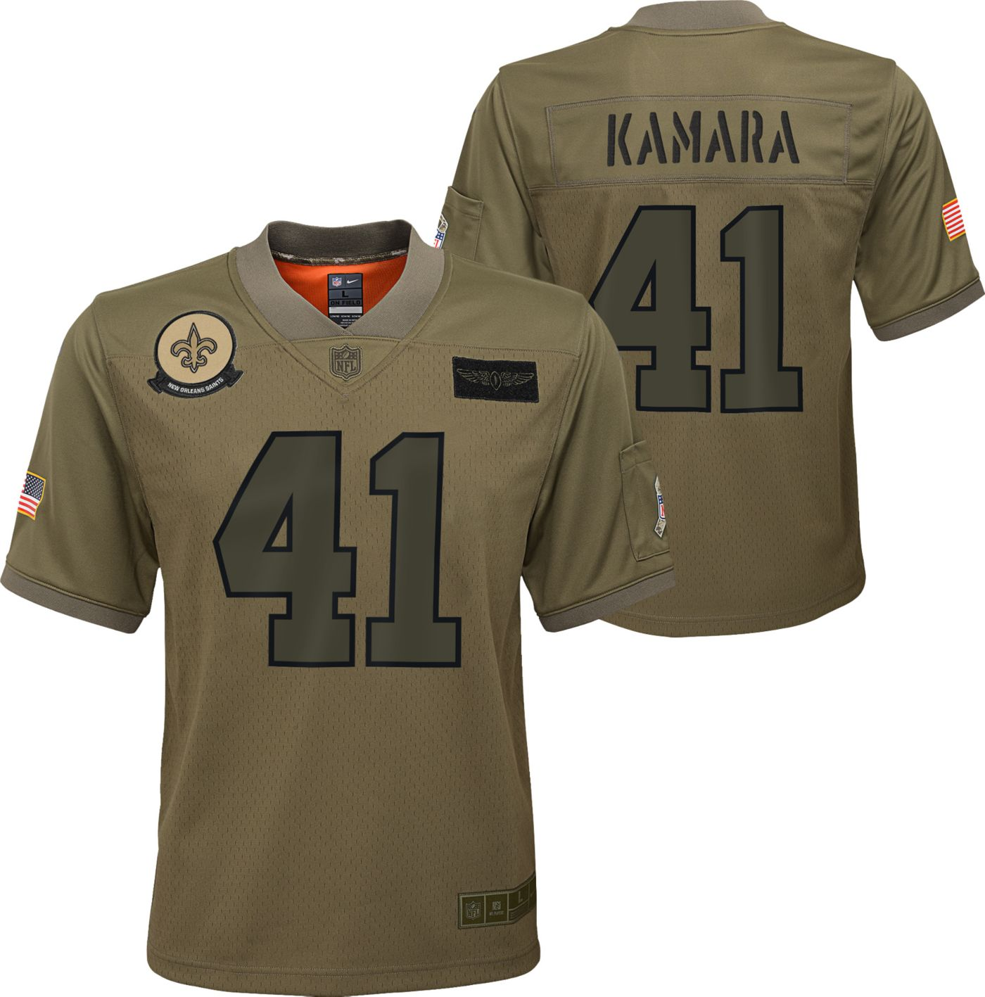 Nike Youth Salute to Service New Orleans Saints Alvin Kamara #41 Olive Game Jersey