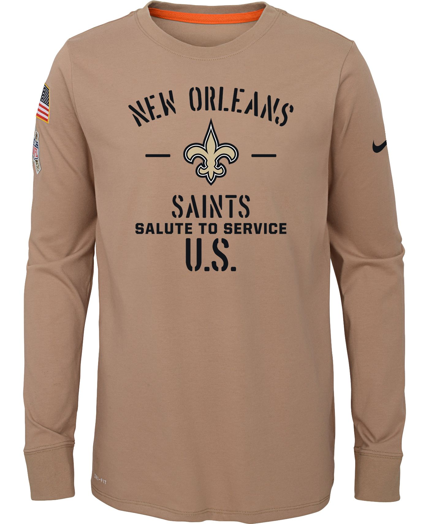 Nike Youth Salute to Service New Orleans Saints Dri-FIT Beige Long Sleeve Shirt