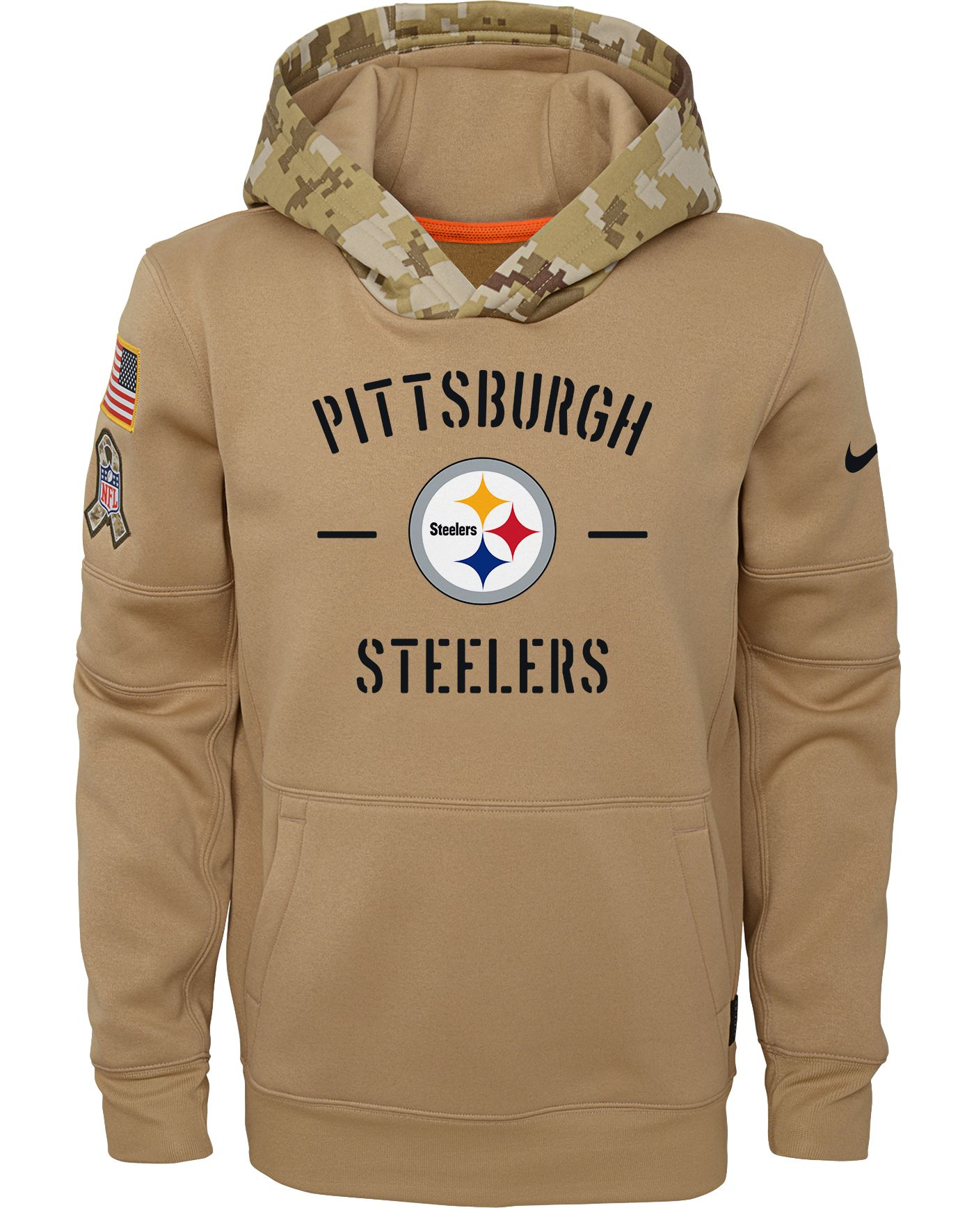 Nike Youth Salute to Service Pittsburgh Steelers Therma-FIT Beige Camo Hoodie
