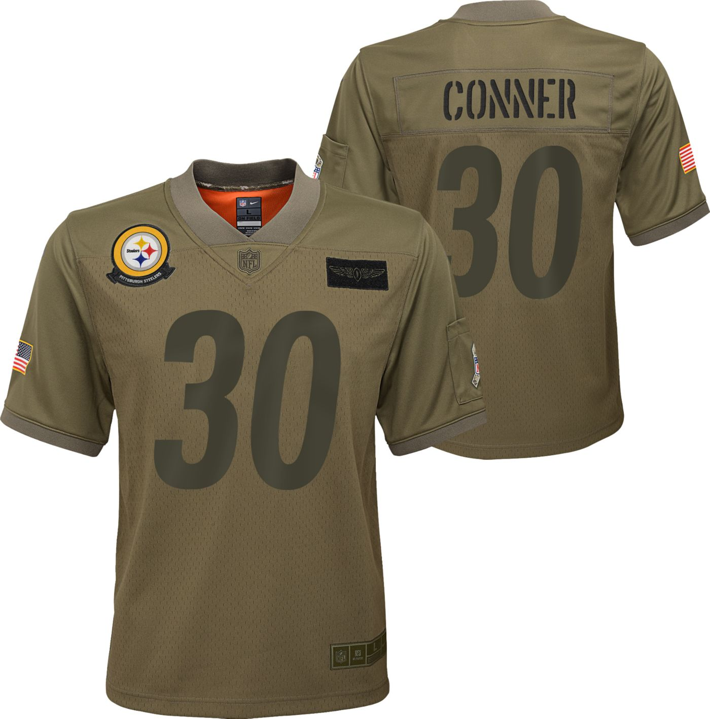 Nike Youth Salute to Service Pittsburgh Steelers James Conner #30 Olive Game Jersey