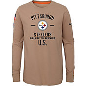 Nike Youth Salute to Service Pittsburgh Steelers Dri-FIT Beige Long Sleeve Shirt