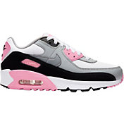 Nike Kids' Grade School Air Max '90 Shoes in White/Rose