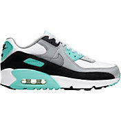 Nike Kids' Grade School Air Max '90 Shoes in White/Turquoise