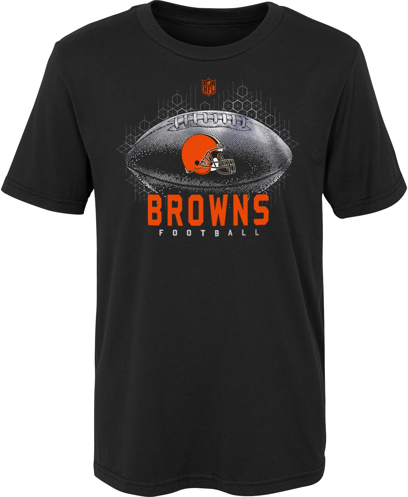 NFL Team Apparel Boys' Cleveland Browns Hexagon Black T-Shirt