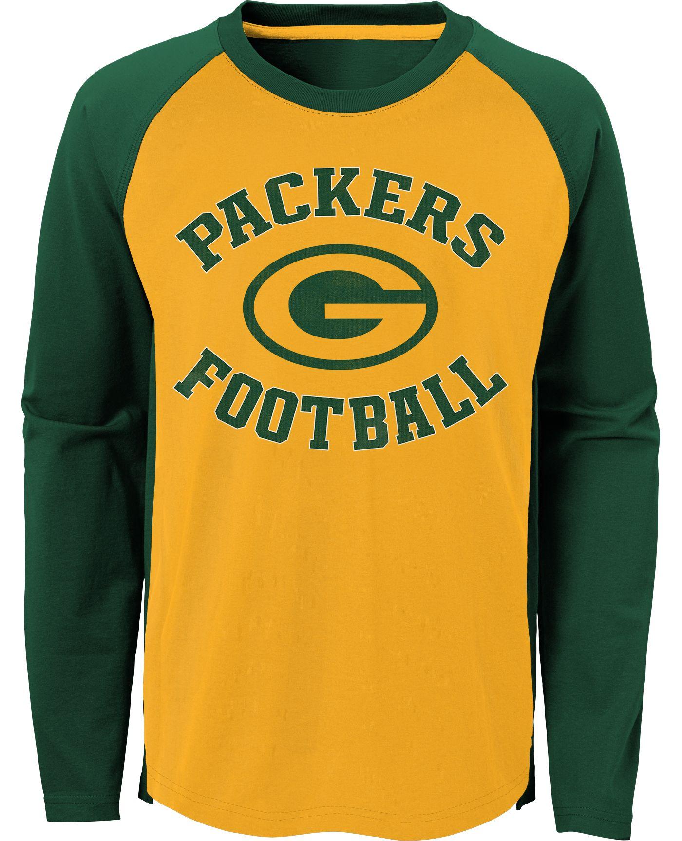 NFL Team Apparel Youth Green Bay Packers Air Raid Long Sleeve Green Shirt