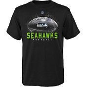 NFL Team Apparel Boys' Seattle Seahawks Hexagon Black T-Shirt