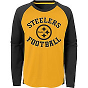 NFL Team Apparel Boys' Pittsburgh Steelers Air Raid Long Sleeve Black Shirt