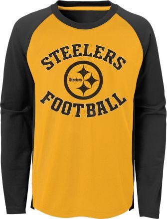 e037df04 NFL Team Apparel Boys' Pittsburgh Steelers Air Raid Long Sleeve Black  Shirt