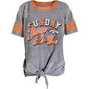 NFL Team Apparel Girls' Denver Broncos Tie Grey T-Shirt