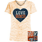 NFL Team Apparel Girls' Denver Broncos Sequins Heart Orange Reversible T-Shirt