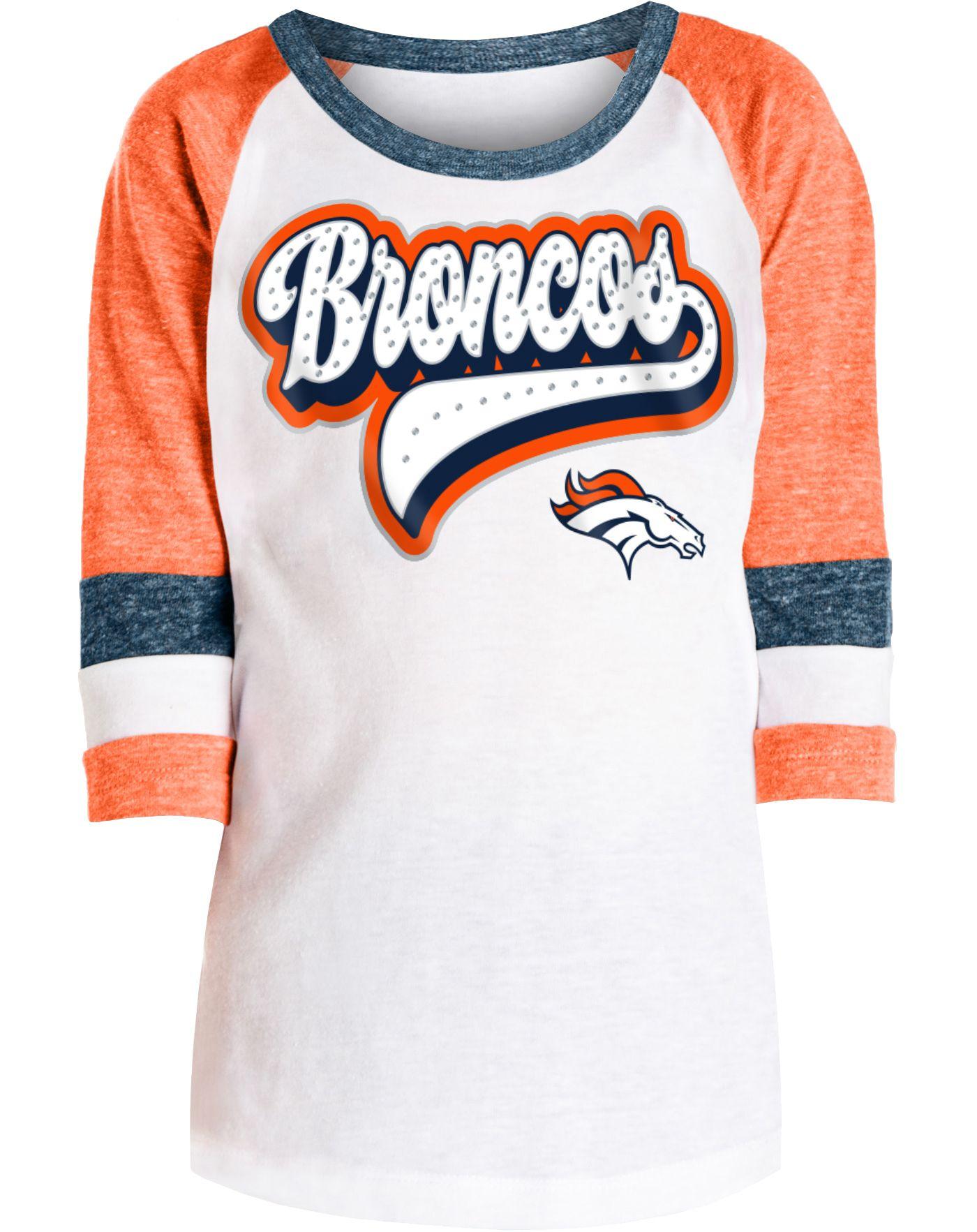 NFL Team Apparel Girls' Denver Broncos Rhinestone White Raglan T-Shirt