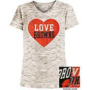 NFL Team Apparel Girls' Cleveland Browns Sequins Heart Brown Reversible T-Shirt