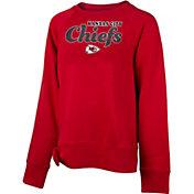 NFL Team Apparel Girls' Kansas City Chiefs Tie Red Fleece Crew
