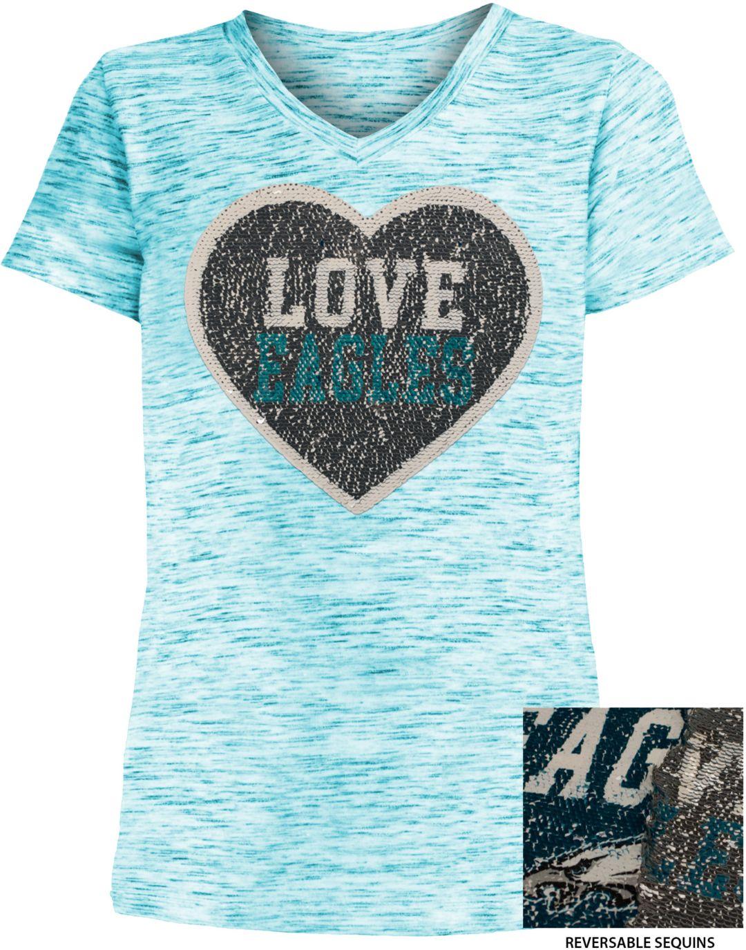 huge selection of 67987 b9c68 NFL Team Apparel Girls' Philadelphia Eagles Sequins Heart Green Reversible  T-Shirt