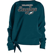 NFL Team Apparel Girls' Philadelphia Eagles Tie Green Fleece Crew