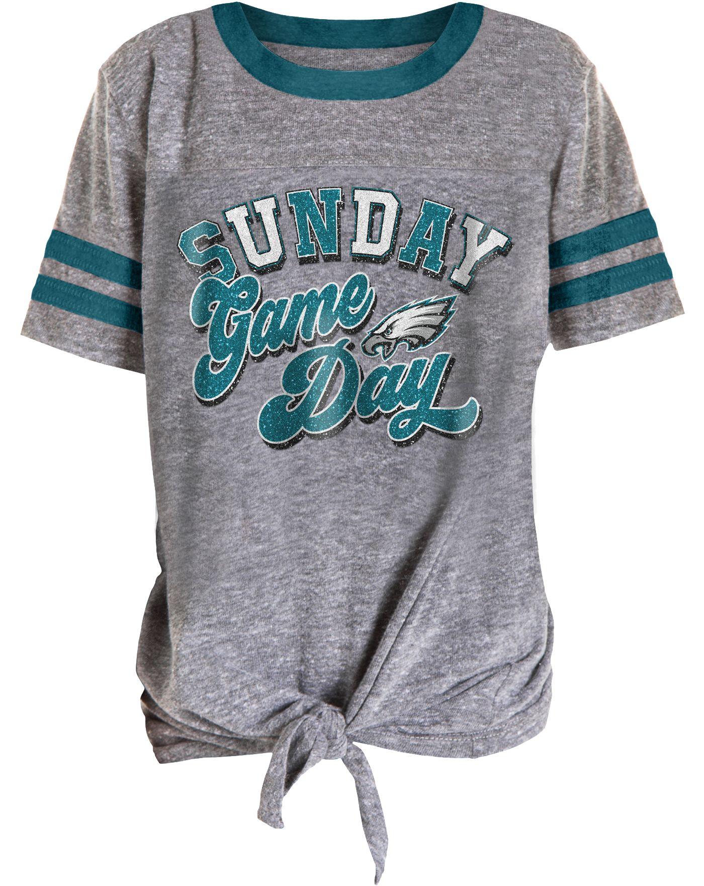 NFL Team Apparel Girls' Philadelphia Eagles Tie Grey T-Shirt