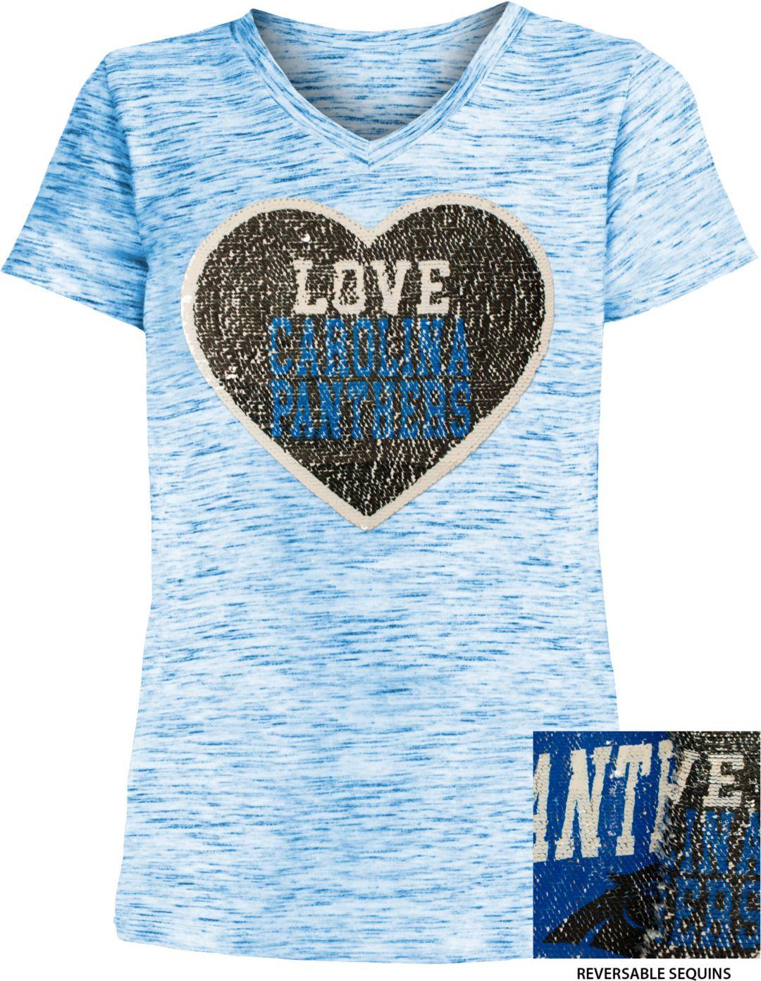 factory authentic 9009c af973 NFL Team Apparel Girls' Carolina Panthers Sequins Heart Blue Reversible  T-Shirt