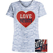 NFL Team Apparel Girls' New England Patriots Sequins Heart Navy Reversible T-Shirt