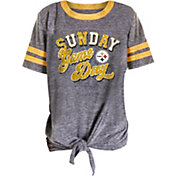 NFL Team Apparel Girls' Pittsburgh Steelers Tie Grey T-Shirt