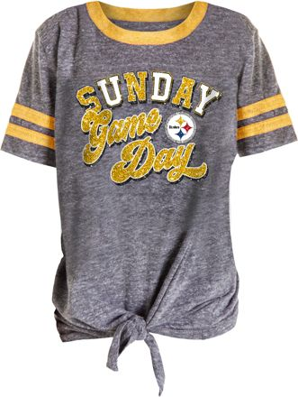 6bc16c1a1508 NFL Team Apparel Girls' Pittsburgh Steelers Tie Grey ...