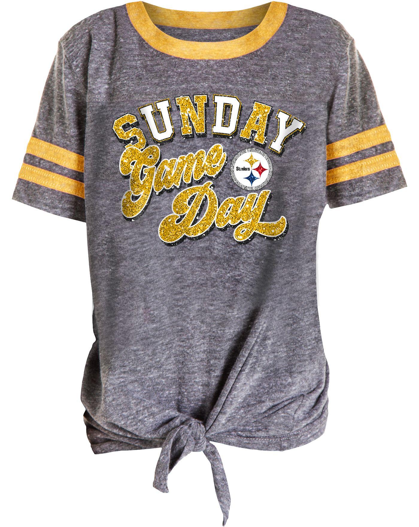 NFL Team Apparel Girls' Pittsburgh Steelers Tie Grey T-Shirt