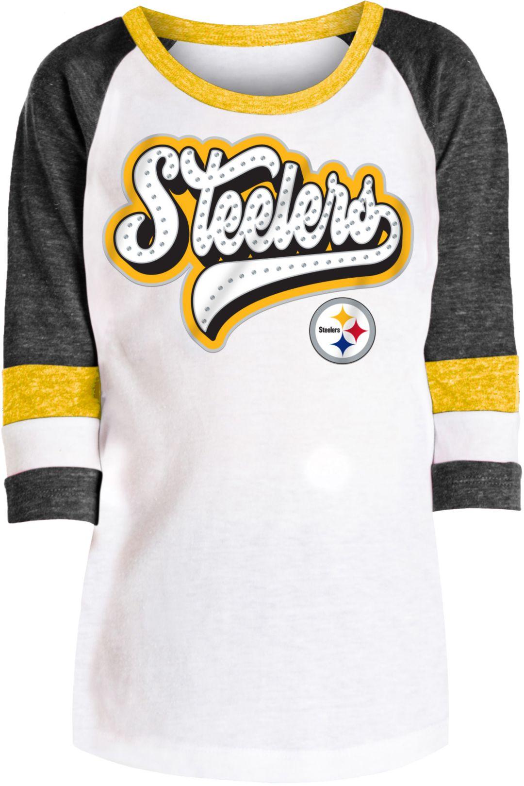 e98cf206 NFL Team Apparel Girls' Pittsburgh Steelers Rhinestone White Raglan Shirt