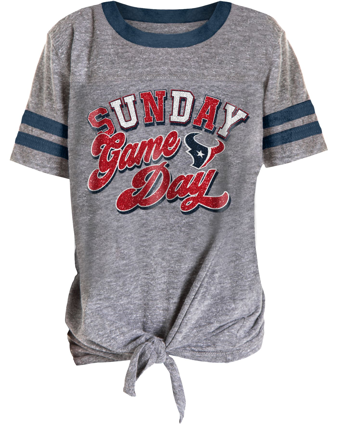 NFL Team Apparel Girls' Houston Texans Tie Grey T-Shirt