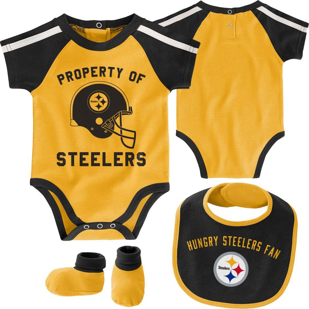 best service 9cdc6 29f9d NFL Team Apparel Infant Pittsburgh Steelers Bib/Booties Set