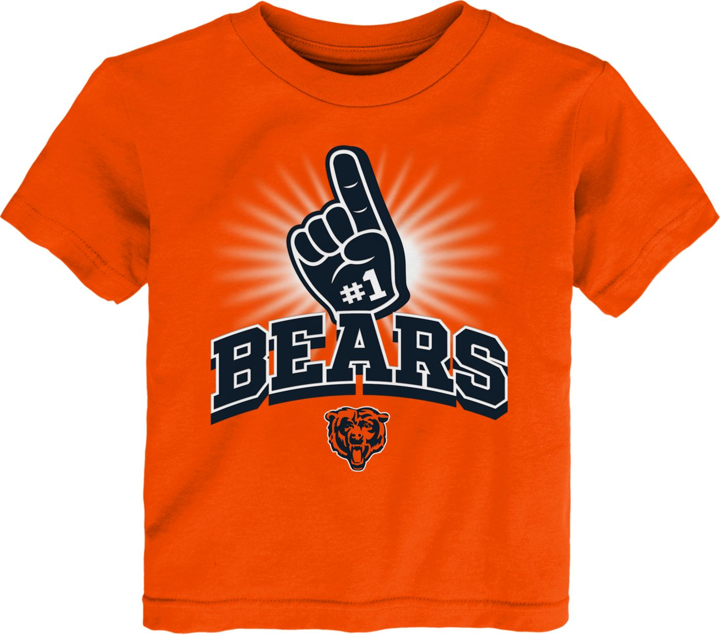 NFL Team Apparel Toddler Chicago Bears #1 Fan Orange T-Shirt