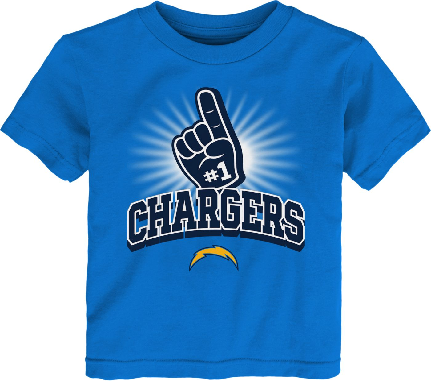 NFL Team Apparel Toddler Los Angeles Chargers #1 Fan Blue T-Shirt