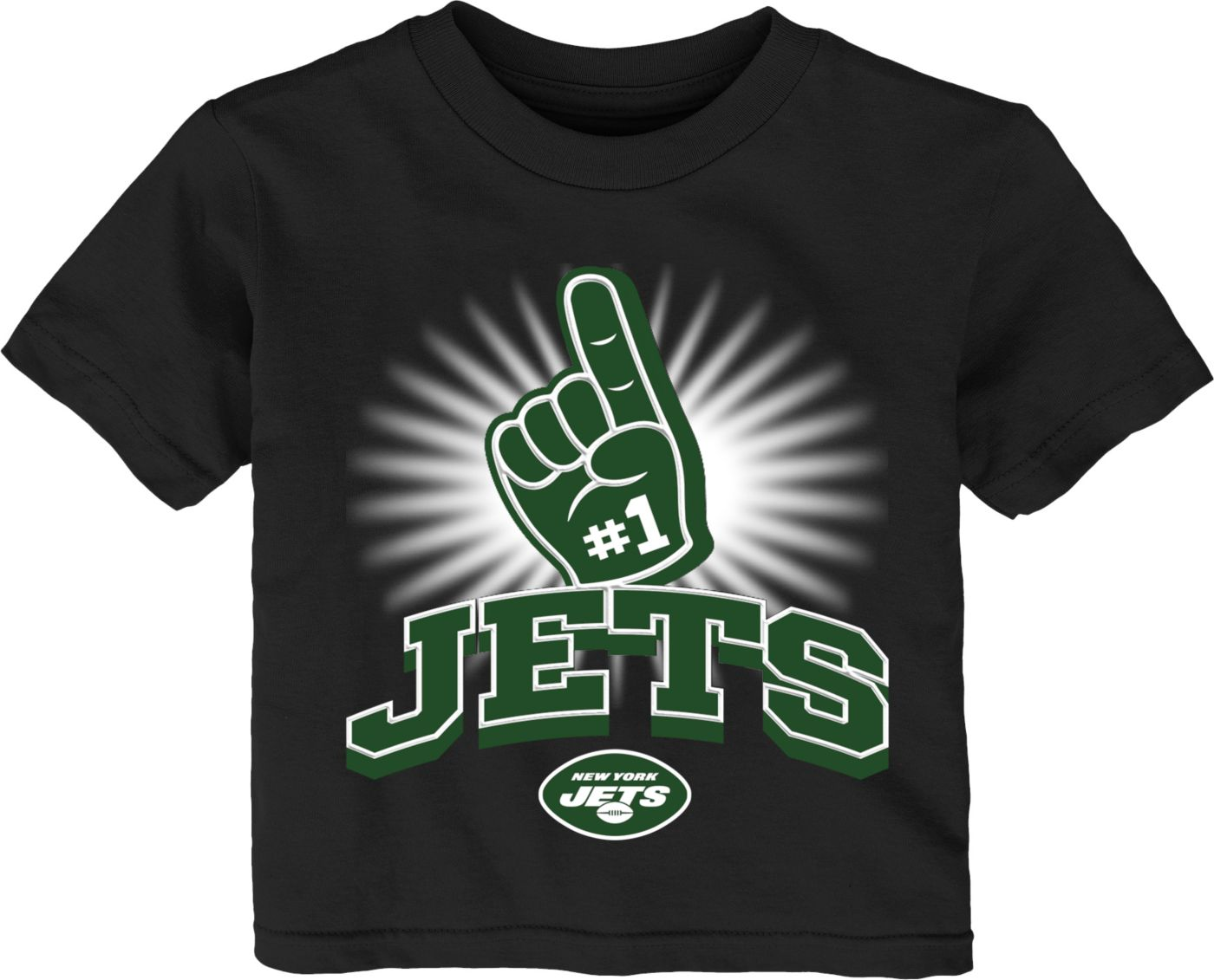 NFL Team Apparel Toddler New York Jets #1 Fan Black T-Shirt