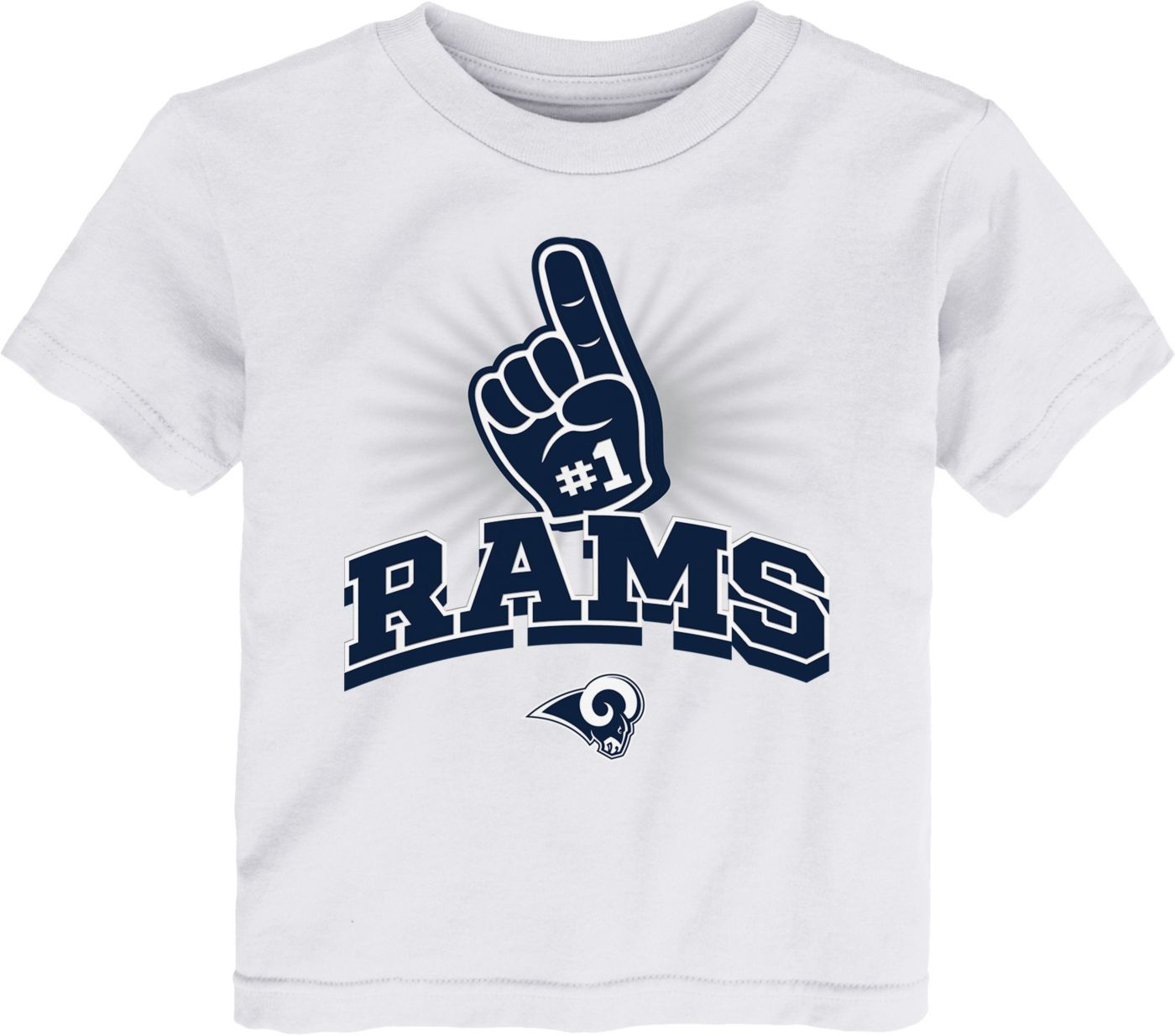 NFL Team Apparel Toddler Los Angeles Rams #1 Fan White T-Shirt