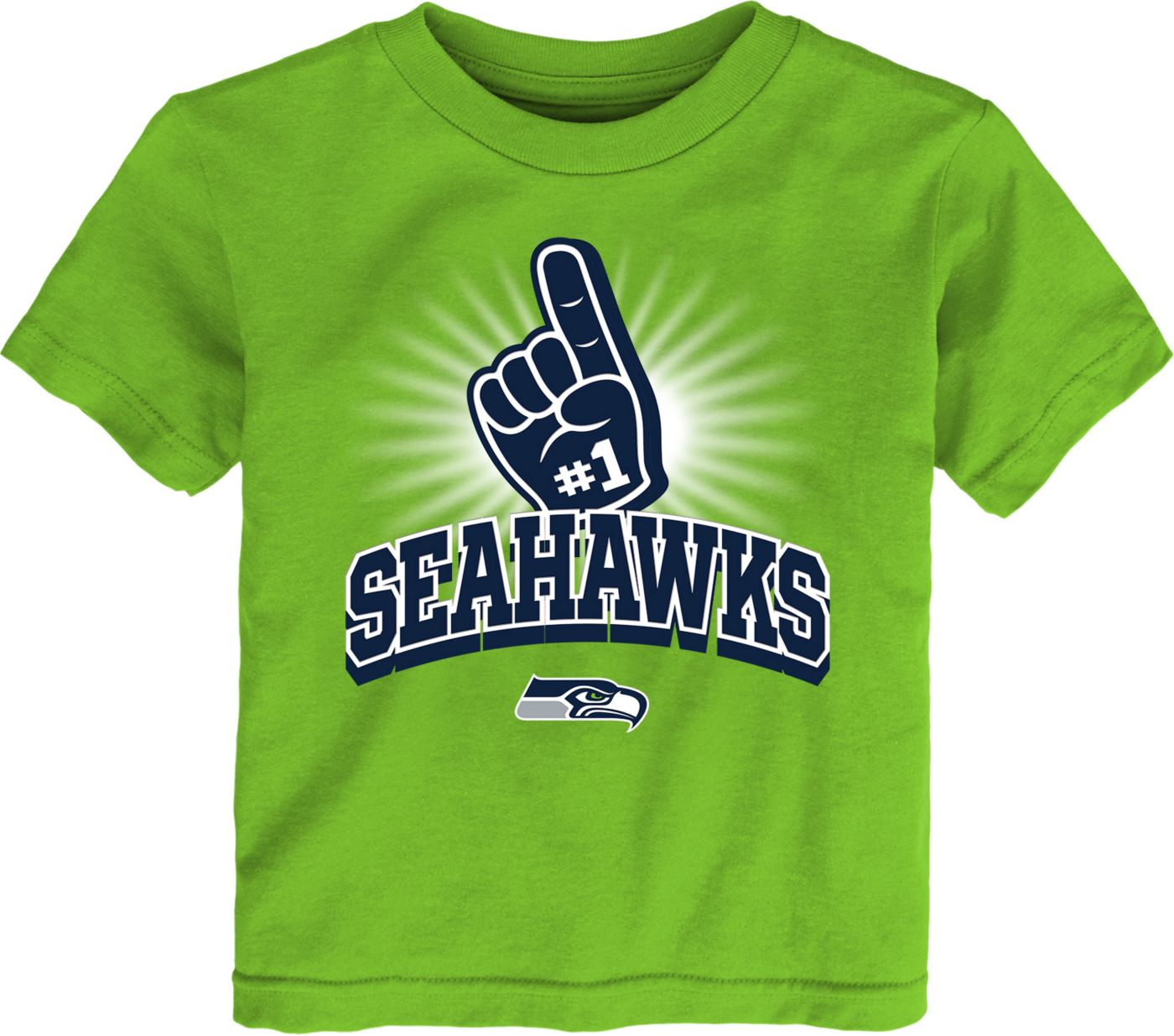 NFL Team Apparel Toddler Seattle Seahawks #1 Fan Green T-Shirt
