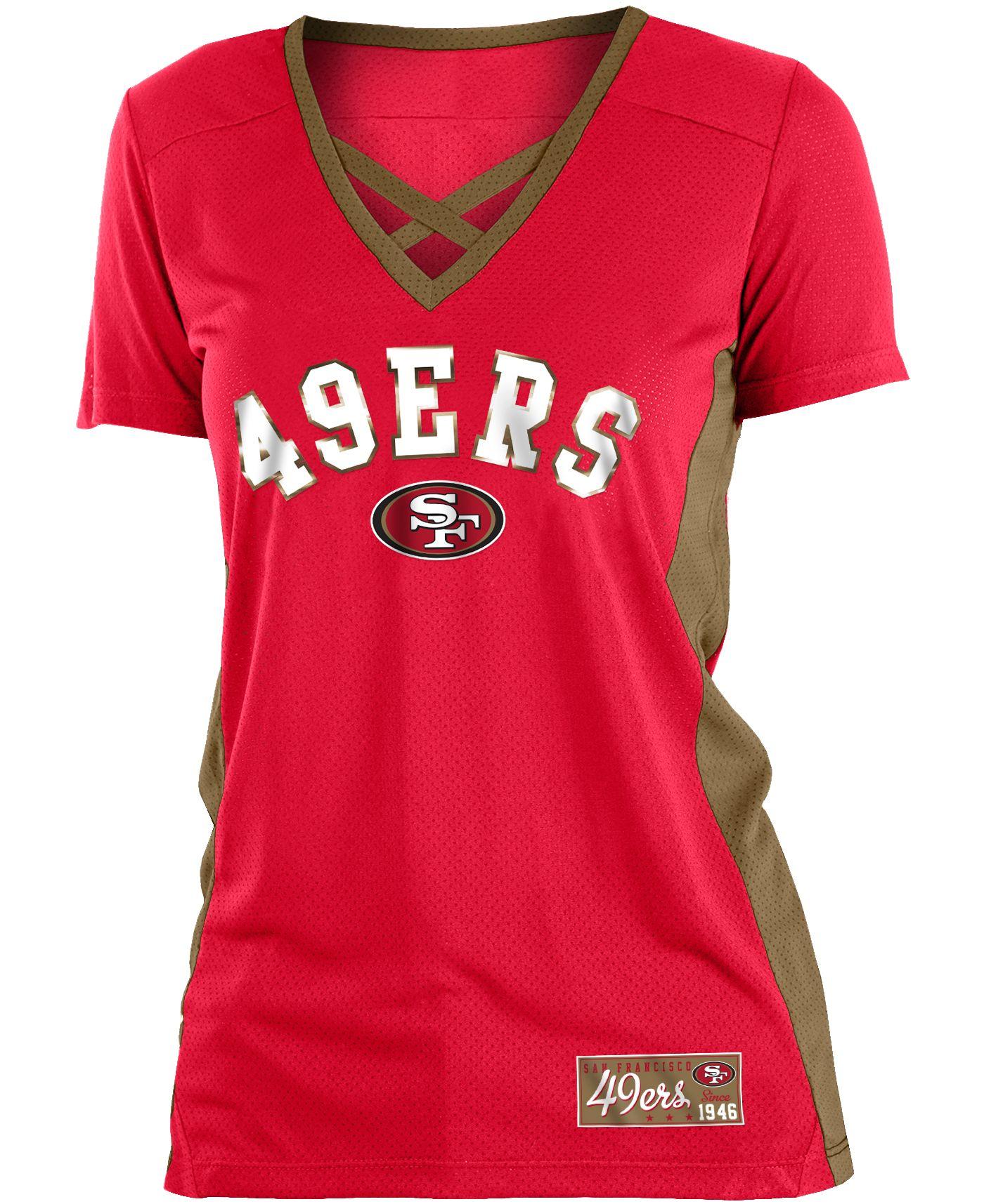 NFL Team Apparel Women's San Francisco 49ers Mesh X Red T-Shirt