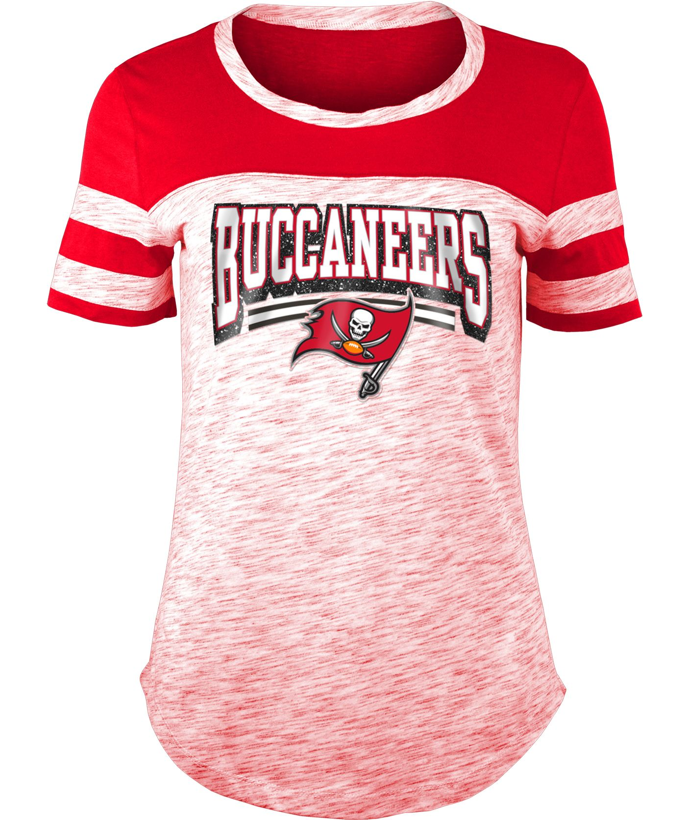 NFL Team Apparel Women's Tampa Bay Buccaneers Space Dye Glitter Red T-Shirt