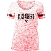 NFL Team Apparel Women's Tampa Bay Buccaneers Red Space Dye V-Neck T-Shirt