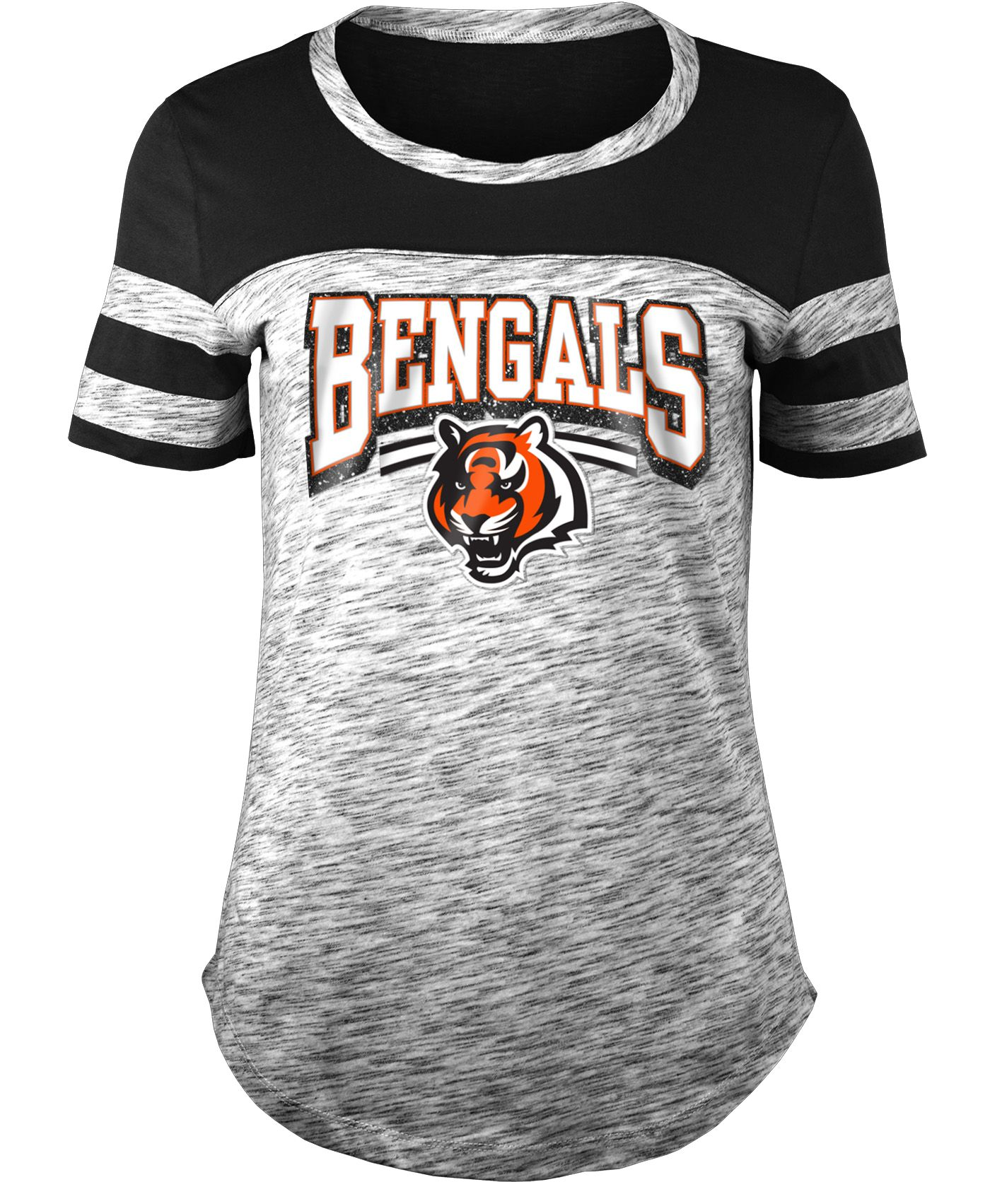 NFL Team Apparel Women's Cincinnati Bengals Space Dye Glitter Black T-Shirt
